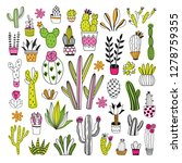 cacti and succulents big vector ... | Shutterstock .eps vector #1278759355