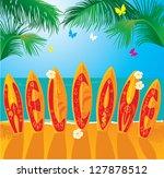 summer holiday card   surf... | Shutterstock .eps vector #127878512