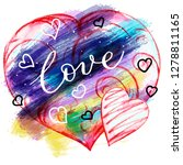 heart  watercolor postcards.... | Shutterstock . vector #1278811165