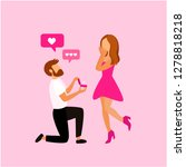 man makes marriage proposal to... | Shutterstock .eps vector #1278818218