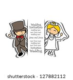 cartoon wedding picture | Shutterstock .eps vector #127882112