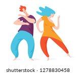 happy couple spontaneous... | Shutterstock .eps vector #1278830458