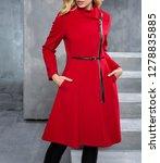 fashion woman is wearing winter ... | Shutterstock . vector #1278835885
