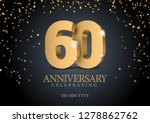 anniversary 60. gold 3d numbers.... | Shutterstock .eps vector #1278862762