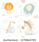 lion giraffe  zebra  elephant... | Shutterstock . vector #1278863785