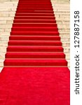 red carpet leading up the stairs | Shutterstock . vector #127887158