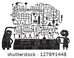 laboratory maze game in black... | Shutterstock .eps vector #127891448