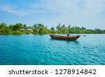 the moored boat rocks on the... | Shutterstock . vector #1278914842