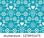 sugar skull vector seamless... | Shutterstock .eps vector #1278931675