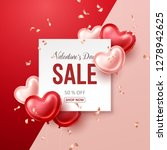 valentines day sale banner with ... | Shutterstock .eps vector #1278942625