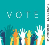 vote now concept. colorful up... | Shutterstock .eps vector #1278950248