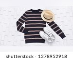 long striped l shirt with white ... | Shutterstock . vector #1278952918