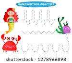 handwriting practice sheet....   Shutterstock .eps vector #1278966898