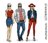 young man and two woman... | Shutterstock . vector #1278994915
