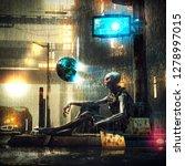 an alien  down on his luck is... | Shutterstock . vector #1278997015
