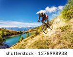 descent to the mountain with mtb | Shutterstock . vector #1278998938