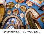 fragments of frescoes  wall...   Shutterstock . vector #1279001218