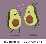 cute avocado couple with hearts.... | Shutterstock .eps vector #1279004845
