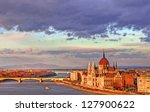 View of the Parliament building, Budapest, Hungary - stock photo