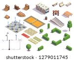 modern city park isometric set... | Shutterstock .eps vector #1279011745