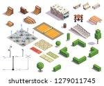 modern city park isometric set...   Shutterstock .eps vector #1279011745