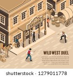 wild west cowboys with pistols...   Shutterstock .eps vector #1279011778