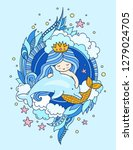 cute little mermaid with... | Shutterstock .eps vector #1279024705