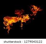 fire flames black background   Shutterstock . vector #1279043122