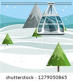 cableway with empty ski lift... | Shutterstock .eps vector #1279050865