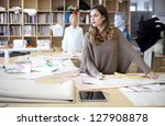 fashion designer daydreaming in ... | Shutterstock . vector #127908878