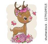 cute cartoon deer with flowers... | Shutterstock .eps vector #1279109515