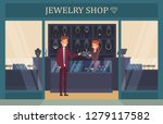 jewelry shop showcase with man...   Shutterstock .eps vector #1279117582