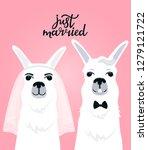couple llamas newlyweds. bride... | Shutterstock .eps vector #1279121722