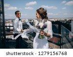 bride with wedding bouquet... | Shutterstock . vector #1279156768