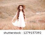 stylish baby girl wearing white ... | Shutterstock . vector #1279157392