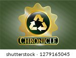 gold shiny emblem with recycle ... | Shutterstock .eps vector #1279165045