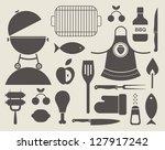 vector set of various food... | Shutterstock .eps vector #127917242