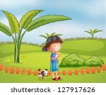 illustration of a boy with a... | Shutterstock .eps vector #127917626