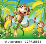 Illustration Of Two Monkeys...