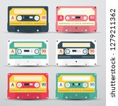 retro audio cassetes set  ... | Shutterstock .eps vector #1279211362