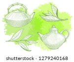 teapots and tea tree leaf. hand ... | Shutterstock .eps vector #1279240168