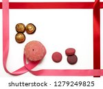 pink candle entwined with pink... | Shutterstock . vector #1279249825