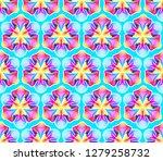 fantastic neon flower seamless... | Shutterstock .eps vector #1279258732