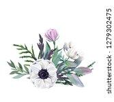 floral watercolor arrangement... | Shutterstock . vector #1279302475