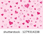pink hearts on a pink... | Shutterstock .eps vector #1279314238
