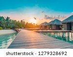 sunset on maldives island ... | Shutterstock . vector #1279328692