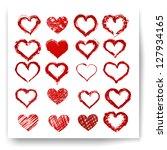 set of vector sketch hearts | Shutterstock .eps vector #127934165