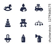 set of 9 baby icons set.... | Shutterstock . vector #1279368175