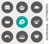 set of 9 dish icons set.... | Shutterstock . vector #1279382062