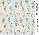 seamless pattern of a cactus... | Shutterstock . vector #1279385068
